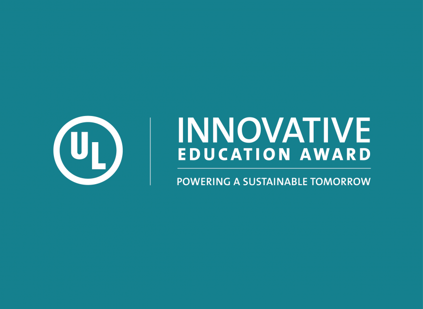 ULIEA Logo: UL logo. Beside it the words Innovative Education Award.  Below that is the tagline Powering a Sustainable Tomorrow. Text is all white on a teal backdrop.